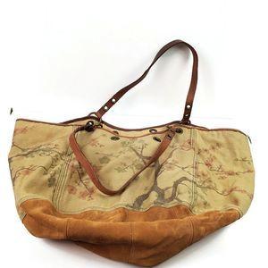 Lucky Brand Cherry Blossom Design Canvas Hobo Bag